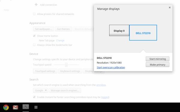 Chrome OS extended desktop