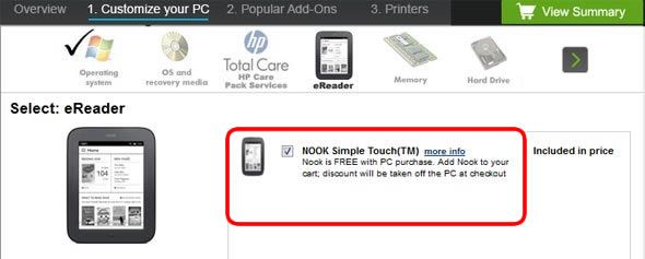 HP free NOOK