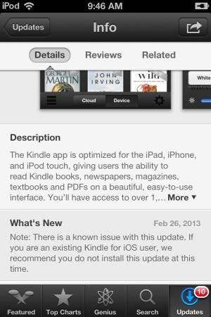 Amazon Kindle iOS bad update