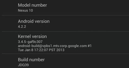Google Nexus 10 with Android 4.2.2