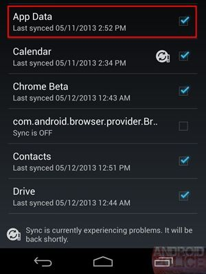 Google Play Services App Data Sync