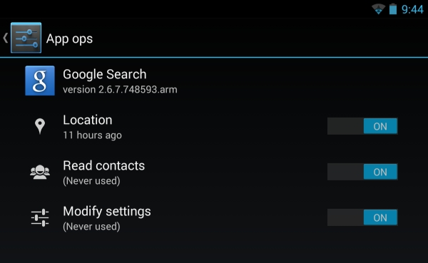 Android 4.3 app ops