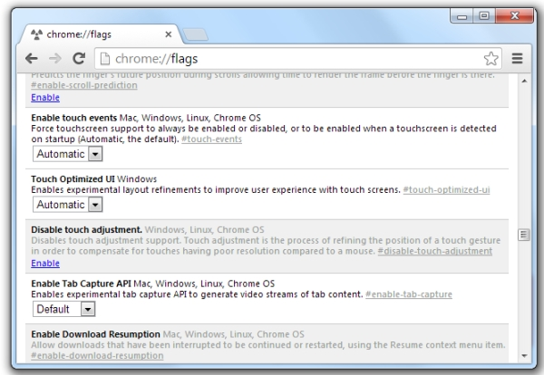 Google Chrome with Touch