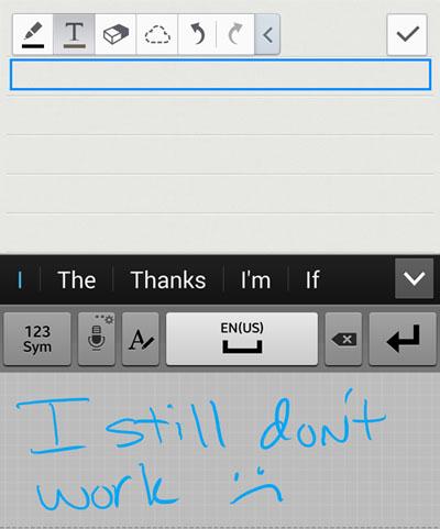 Galaxy Note handwriting keyboard fail