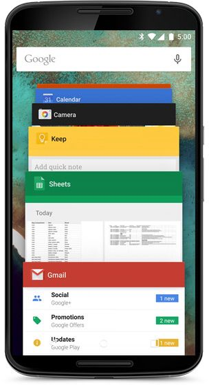 android 5.0 recents