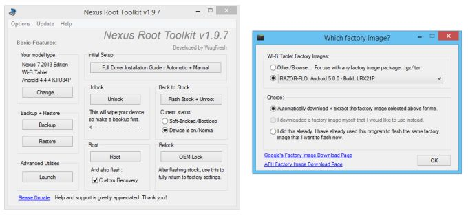 WugFresh Nexus Root Toolkit adds Android 5 0 Lollipop