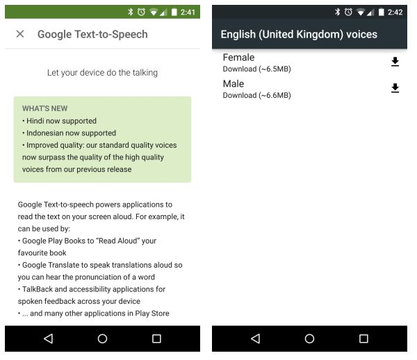Android Text To Speech update improves voice quality