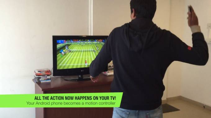 Motion Tennis Chromecast (or Miracast) game turns your phone