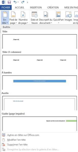 Modèles d'en-têtes - Des didacticiels Microsoft Word sur lilitherature.com.