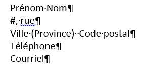 Exemple d'un entête de lettre quand vous écrivez en votre propre nom