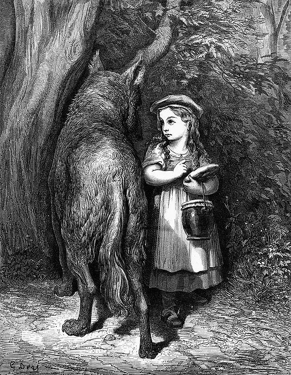 Le Petit Chaperon rouge et le Loup dans la forêt