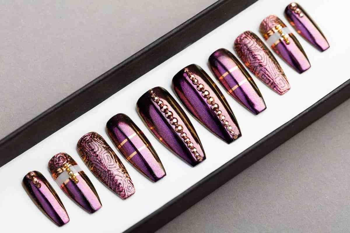 Purple Press on Nails. Rose Gold Swarovski. Hand-painted Nail Art. Fake Nails, False Nails, Glue On Nails