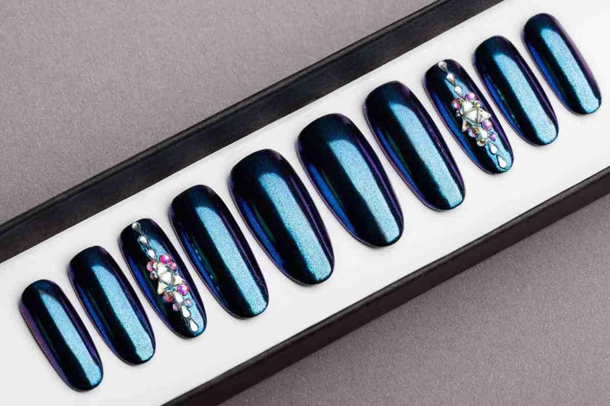 Blue and Purple Mirror Press on Nails | Nude Nails | Handpainted Nail Art | Fake Nails | False Nails | Unicorn Nails | Chrome nails