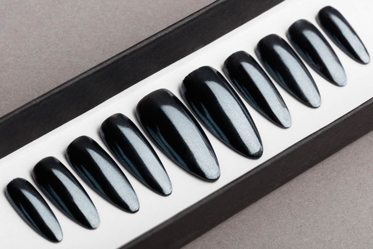 Graphite Mirror Press on Nails | Black Nails | Handpainted Nail Art | Fake Nails | False Nails | Coffin Nails | Chrome nails