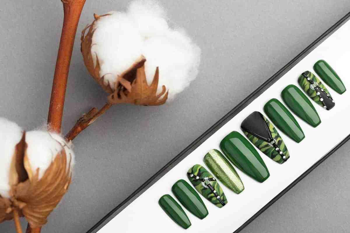 Green Camo Press on Nails   Hand painted Nail Art   Fake Nails   False Nails   Artificial Nails