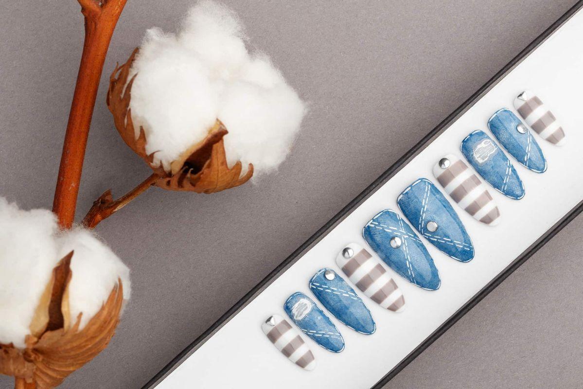 Jeans Press On Nails | Stripes nails | Hand painted Nail Art | Fake Nails | False Nails | Artificial nails