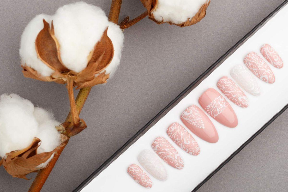 Lace Wedding Press on Nails   Bridal nails   Bridesmaids Nails   Fake Nails   Hand painted nail art   False Nails