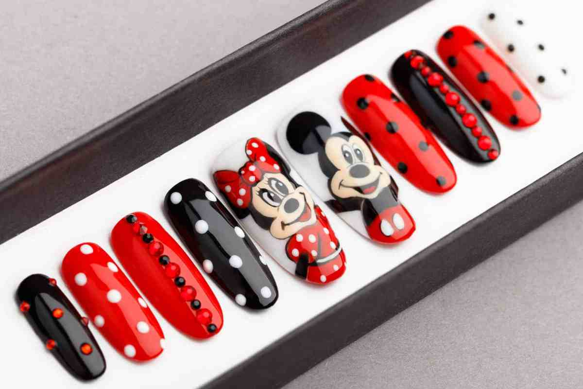 Mickey and Minnie Mouse Inspired Press on Nails with Swarovski Crystals   Fake Nails   False Nails   Glue On Nails   Disney   Hand painted