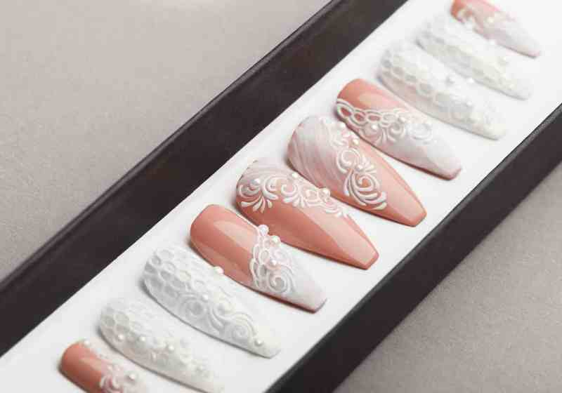 White wedding Press on Nails | Fake Nails | False Nails | Glue On Nails | Tracery Nails | Acrylic Nails | Gel Nails | Handpainted Nail Art
