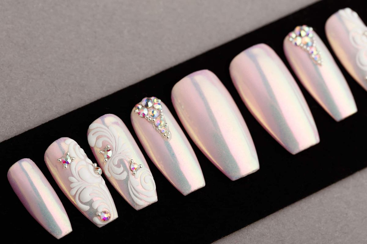Pink Mirror Press on Nails with Swarovski crystals and Patterns