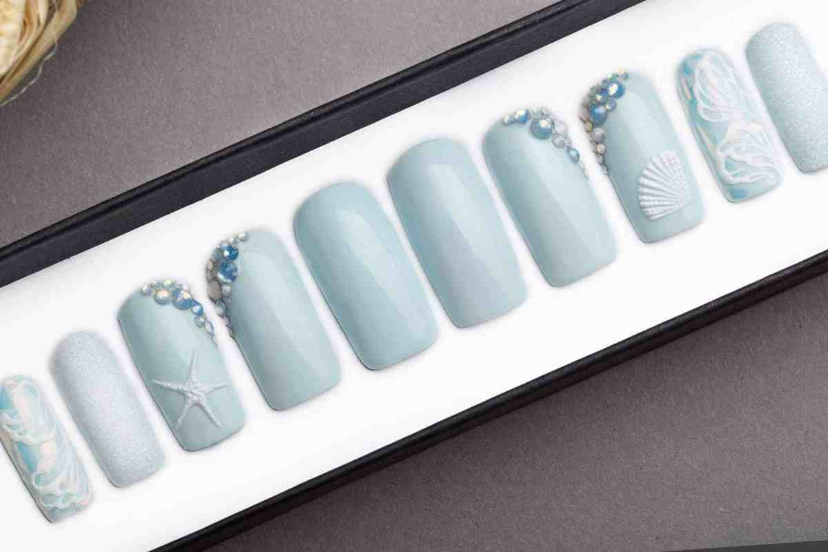 Marine Nails with Swarovski Opal Crystals | Press On Nails | Hand painted nail art | Fake Nails | False Nails