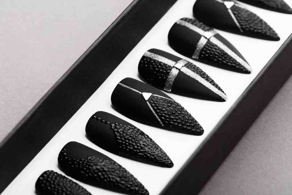 Black Drops Press on Nails   Black Nails   Handpainted Nail Art   Fake Nails   False Nails   Mattee Nails