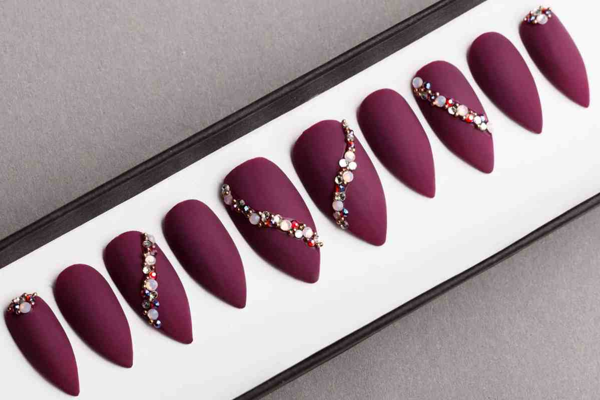 Burgundy Press on Nails with Swarovski Crystals | False Nails | Glue On Nails | Hand-painted Nail Art | Fake Nails