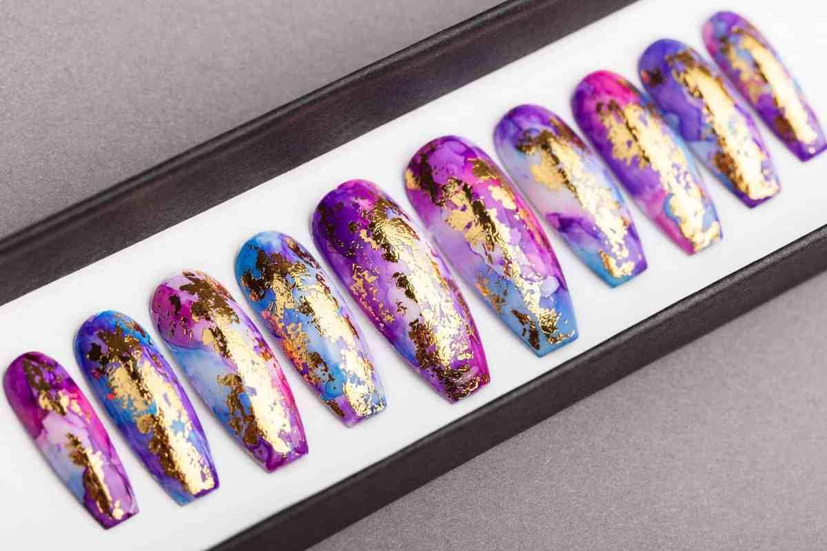 Golden Unicorn Press on Nails   Summer Nails   False Nails   Glue On Nails   Hand-painted Nail Art   Fake Nails