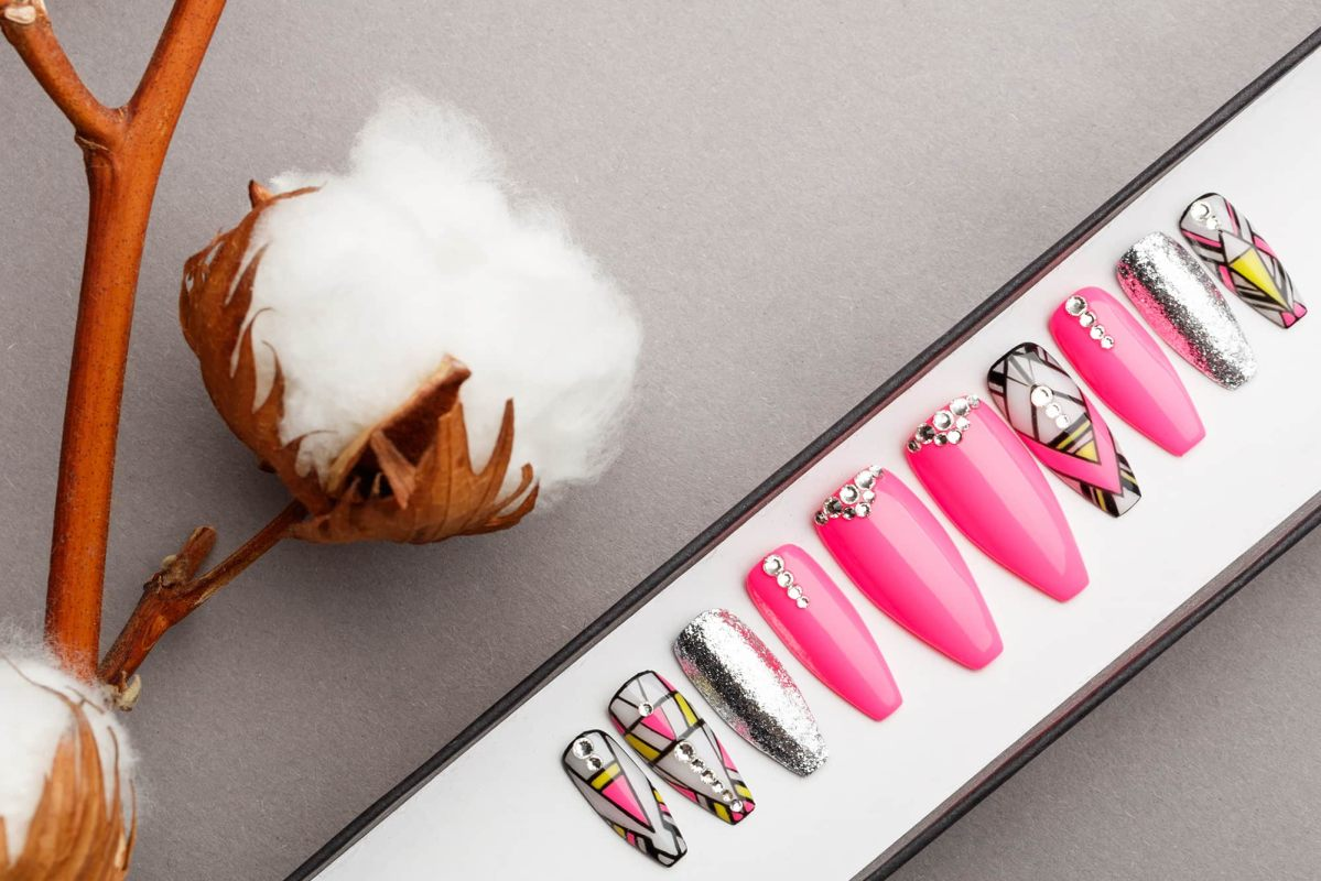 Pink Abstraction Press on Nails | Hand painted Nail Art | Fake Nails | False Nails | Artificial Nails | Glitters