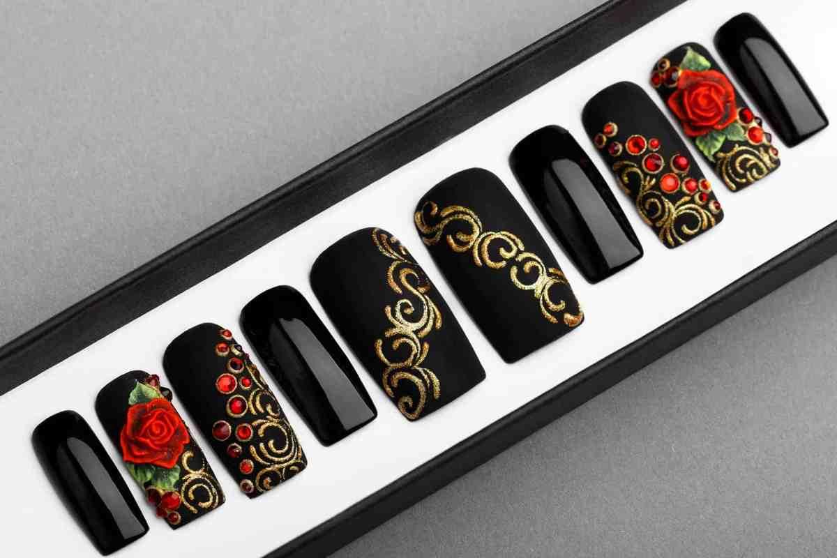Rose & Gold Press on Nails | 3D Flower | Sculpted Nail Art | Fake Nails | False Nails | Glue On Nails