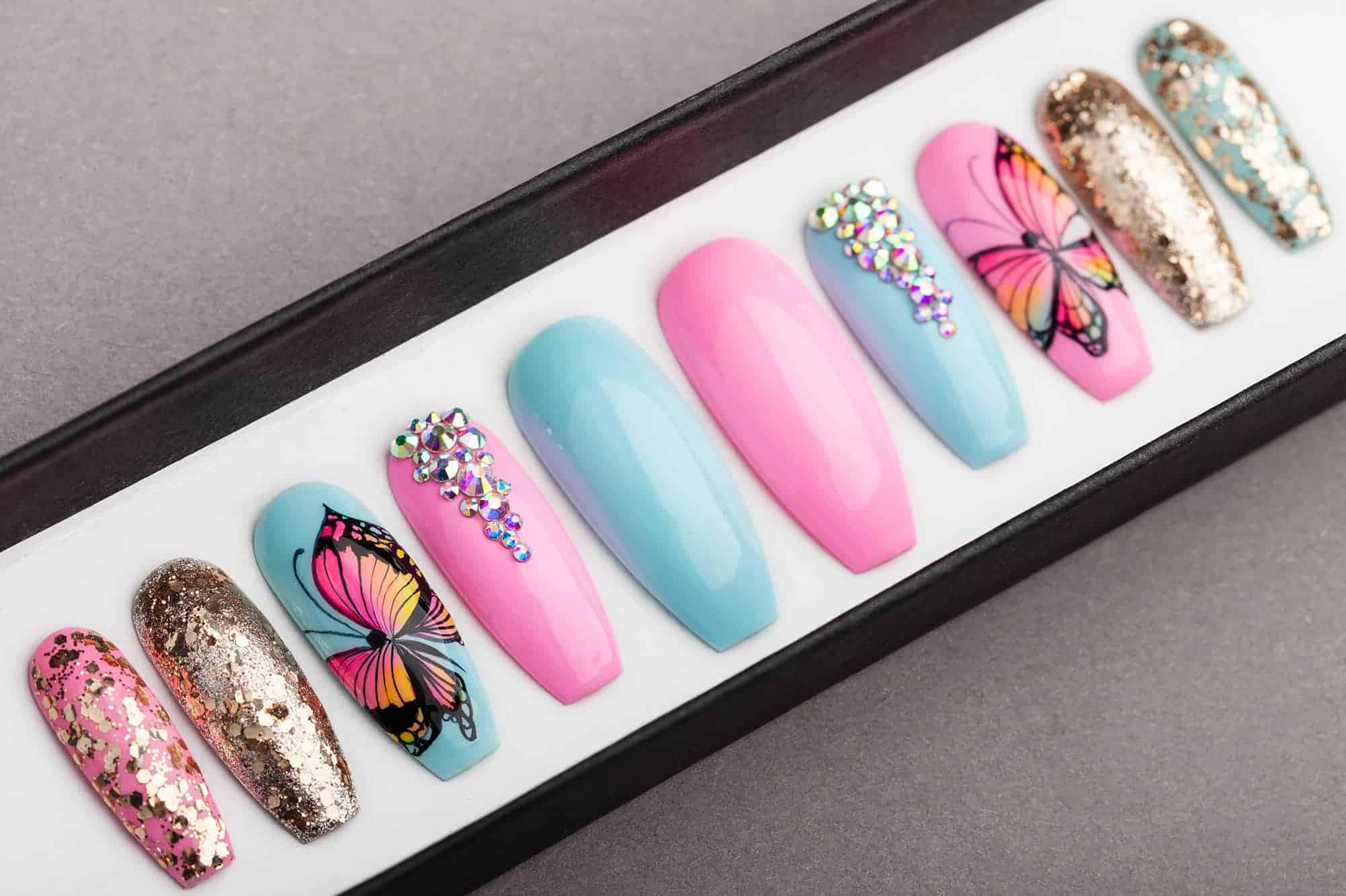 c731556f93df Summer Butterfly Press on Nails with Swarovski Crystals