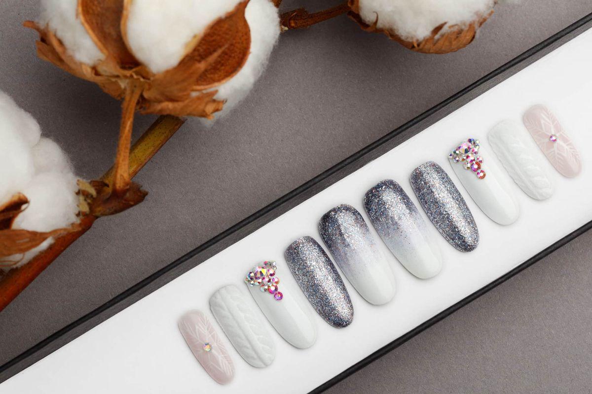 Sweater weather Press on Nails   Pattern   Hand painted Nail Art   Fake Nails   False Nails