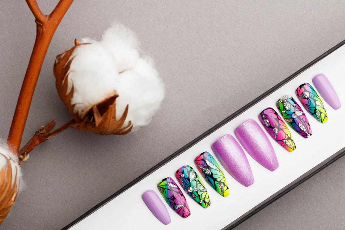 Tropical Purple Press on Nails with Glitters | Handpainted Nail Art | Fake Nails | False Nails | Abstract Nail Art | Bling Nails