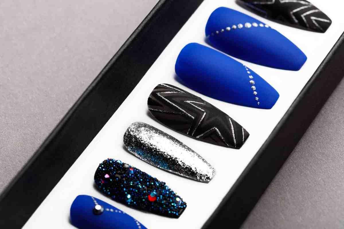 Ultramarine Star Press on Nails with Swarovski Crystals | Unicorn Nails | Hand painted Nail Art | Fake Nails | False Nails | Celebrity Nails