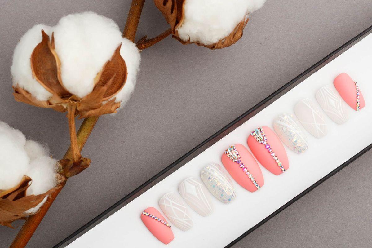 Pink Press On Nails With White Geometry Lines • Swarovski crystals • Wedding nails • Fake Nails • False Nails • Glue On Nails • Bridal nails