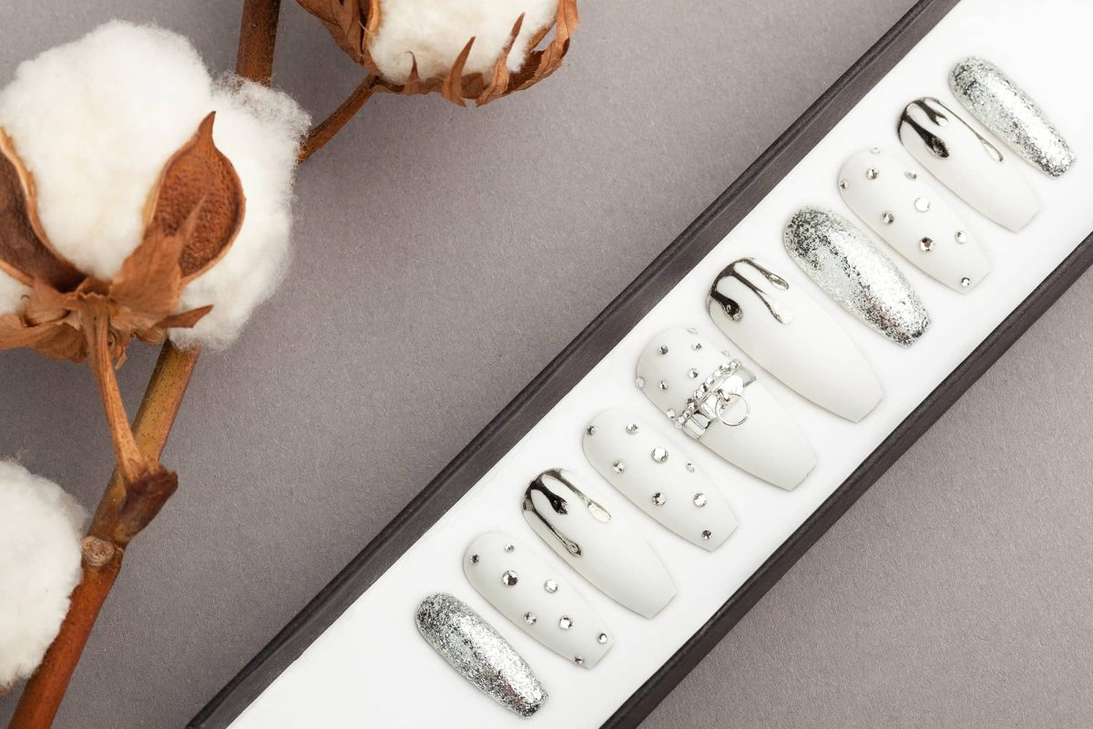 All White Press on Nails with Drips and Rhinestones