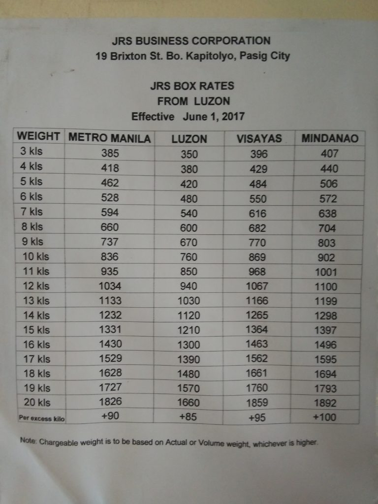 JRS Express Box Rates June 2017