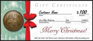 Lilleys' Landing Christmas Gift Certificate