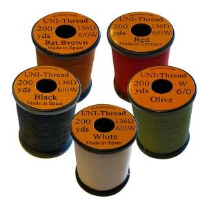 Uni-Thread 6/0 200 yards, waxed (Assorted Colors)