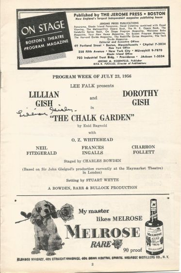 The Chalk Garden July 23 1956 Program 2