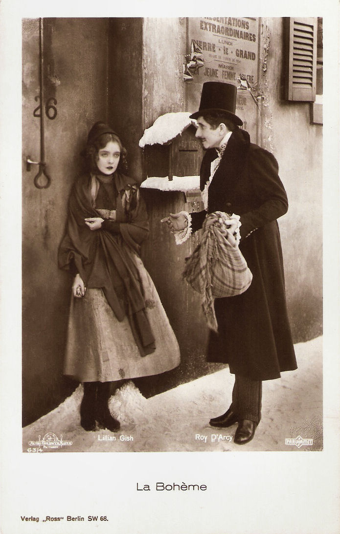 German postcard by Ross Verlag, no. 634. Photo Metro-Goldwyn-Mayer (MGM) Parufamet. Publicity still for La Bohème (King Vidor, 1926).