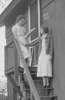 Nell Dorr (1893-1988); Nell Dorr and Lillian Gish on stairs 1930]; nitrate negative; Amon Carter Museum of American Art; Fort Worth TX