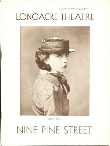 Playbill Lillian Gish - Nine Pine Street 1933 NYC