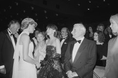 diana, princess of wales (1961 - 1997) meets american actress lillian gish (1893 - 1993) and director lindsay anderson (1923 - 1994) at the cannes film festival in france