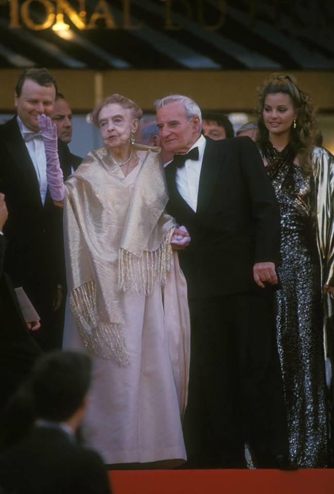 lillian gish and lindsay anderson at cannes film festival in france, may 1987