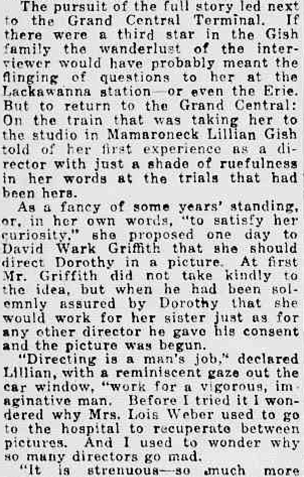 New York Tribune February 29, 1920, Page 12 Lillian Gish directing her sister TEXT 3