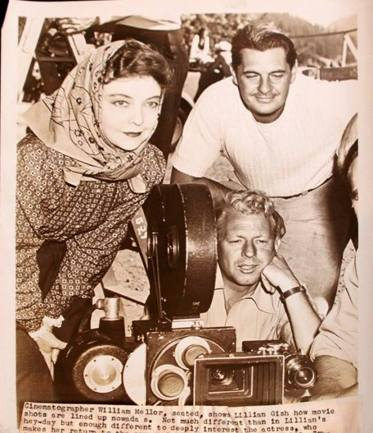Lillian Gish in Commandos Strike at Dawn (1942) with William Mellor on set