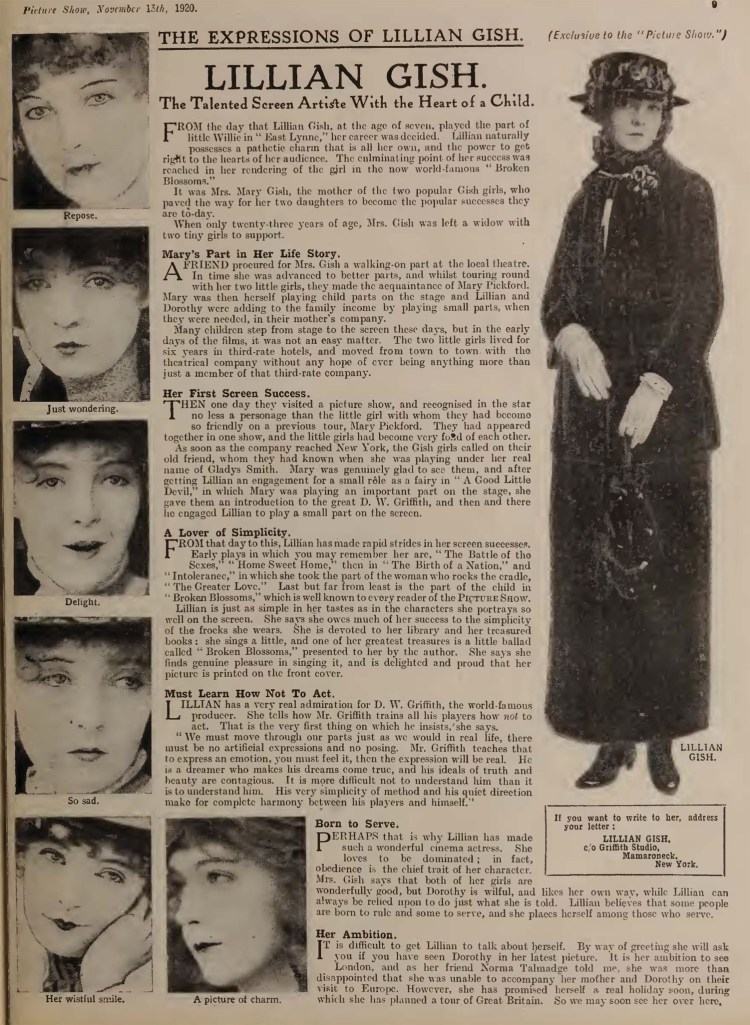 Picture Show (Nov 1920) Expressions Lillian Gish