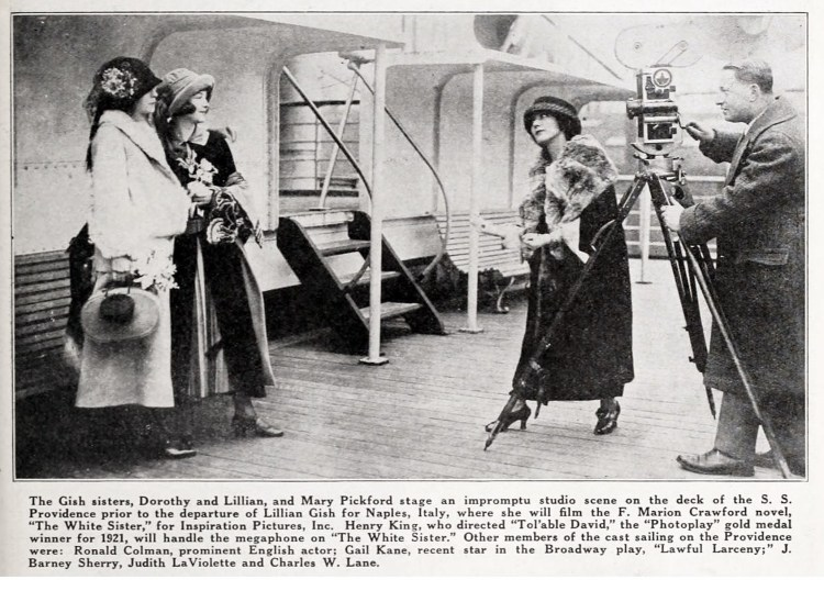 Mary Pickford serves as director for this shipboard news film of Lillian and Dorothy Gish as they leave for Europe in 1922