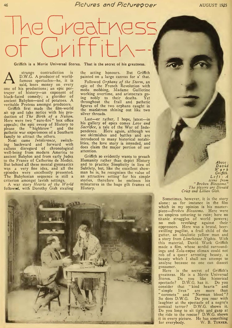 The Greatness of Griffith - Pictures and the Picturegoer (Aug 1925)